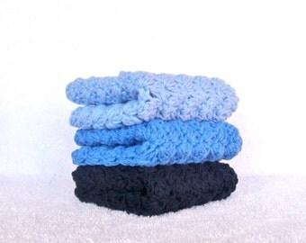 Blue Crochet Washcloths Crochet Dishcloths Set of 3 Cotton Textured Washcloths Cotton Dustrag