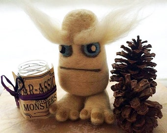 Needle Felted Monster - 6 In SNOW BEAST - Needle Felted Yeti Bigfoot - Unusual Gift - Cute Handmade Monster - Fiber Art Plushie Figure