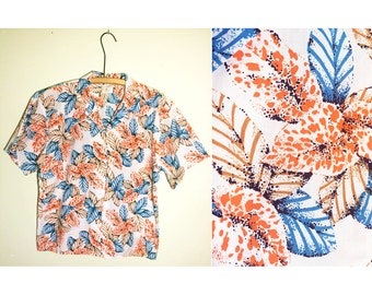 "80s/90s ""California Girl"" Short Sleeved Button-up, Hawaiian Tropical Summer Beach Shirt"