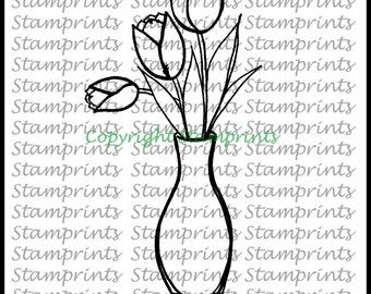 Digital Stamp - Tulips Vase MFS-167 (by Stamprints). Printable.Coloring Art.Hand-Drawn Illustration