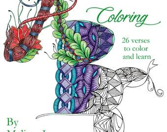 A Biblical Coloring - adult coloring book, PDF, digital download, grownup coloring book