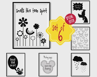 Set of 6 prints, Kids room decor, Black and white prints, Playroom wall decor, Baby room wall art, PRINTABLE SET, Minimalist baby, goofy