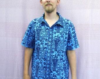80s Blue Batik Print Shirt Oxfords Button Down Wax Dashiki Shirt Short Sleeve Shirt Size xlarge