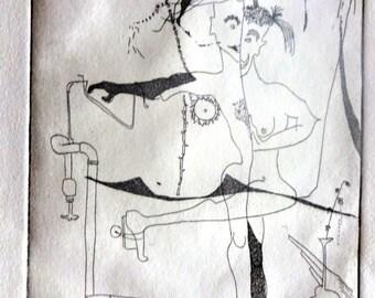 Bi-gender. An original etching by avshalom eitan. 5.5 x 9 in. Etching, aquatint on paper.
