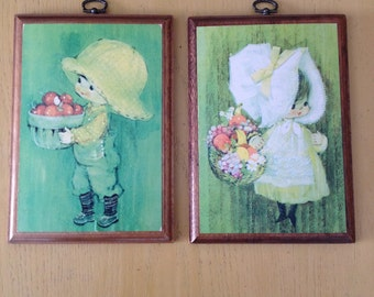 Vintage Set of Springbok Wall Plaques-boy and girl
