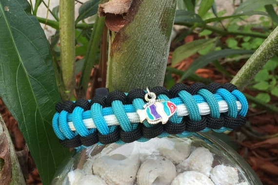 Nautical Paracord Bracelet, or Anklet also beach wear perfect, with porcelain silver fish charm, very stylish looking