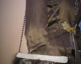 Summer fur bag, silver fox clutch