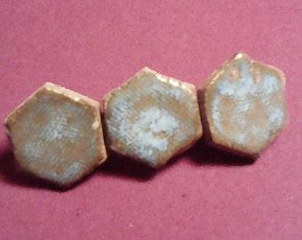 Tiled ceramic hair clips - light blue hexagons
