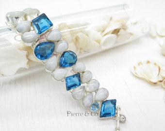 London Blue Topaz and Moonstone Sterling Silver Bracelet
