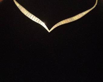14K Tricolor Italian Omega Necklace