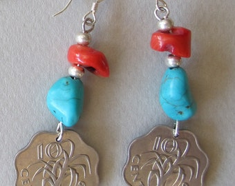 SWAZY M turquoise and coral earrings