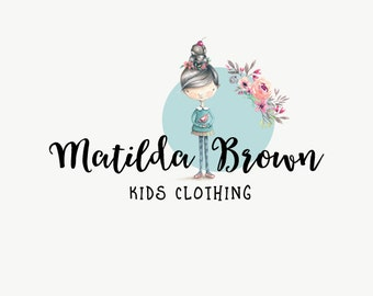 Quirky logos - Kids shop logo - Watercolor logo design - Premade logo - Business logo - Kids apparel shop - Kids boutique logo