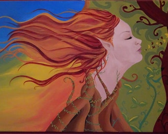 """Oil on canvas-""""autumn Elvish""""-acrylic painting and application of autumn leaves"""