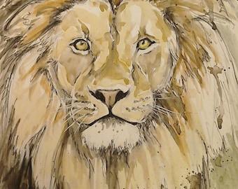 Lion art watercolour painting, Majestic