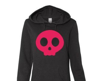 Cute Skull Logo, Black Juniors Hoodie, Hot Pink Cute Skull, Cute Cartoon Skull, Cute Anime Skull, Layering Hoodie, Day of the Dead gift