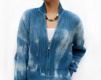 Hand Dyed Indigo Zip-Up Sweater, Ramie Cotton Woven Knit in Galaxy