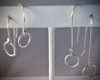Silver earrings - Circle dangle earrings