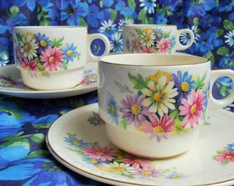 Vintage Brexton picnic hamper teacup and saucer - Pattern no. 7906 - 1950's - used