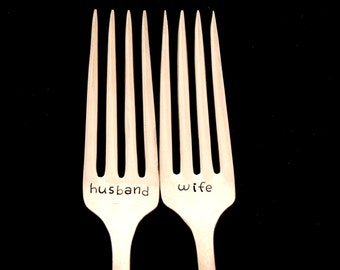 Husband Wife wedding fork set / wedding anniversary / wedding decor / cutlery for bride and groom / bridal shower gift / gift for couple
