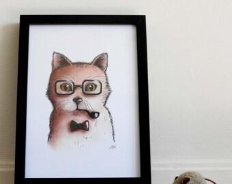 Art print Father cat / Funny cat illustration / 12 x 8.3 inch / 30 x 21 cm / A4 size