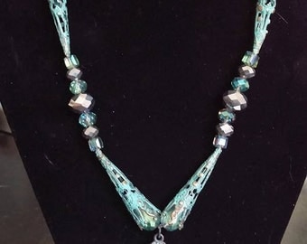 Handmade Ornate Patina Filagree Metal and Glass Bead Necklace and Earrings