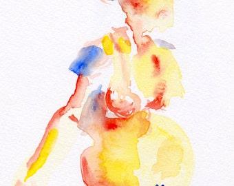Watercolor Portrait - Pregnant Woman
