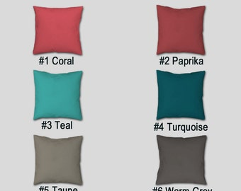 Solid Color Throw Pillow, Cover Case, Teal Turquoise Coral Paprika Gray  Taupe, Decorative