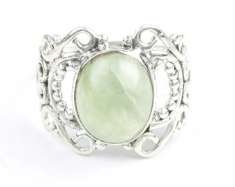 Prehnite Revival Ring, Sterling Silver Prehnite Ring, Gemstone, Crystal Jewelry, Ethnic, Boho, Gypsy, Wiccan, Hippie, Spiritual, Cosmic