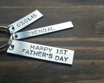 First Fathers Day Keychain 1st Fathers Day Gift For Dad Keychain Personalized Keychain From Baby Fathers Day from Baby Custom Key chain