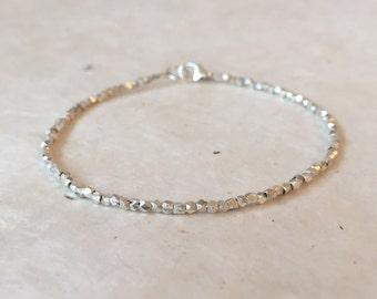 Dainty Karen Hill Tribe Thai Silver Boho Bracelet, Sundance Style, Mother's Day Gift, Stacking Bracelet, Layering Bracelet