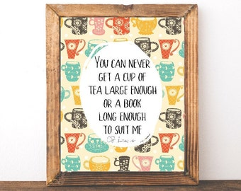 CS Lewis Book Quote- Tea Lover Gift- Christmas Gift Idea for Book Lovers- Bookworm Quote- Gift for Coworkers- Home Office Literary Gift