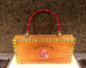 Punch Wood Cigar Box Purse with Red Beaded Handle
