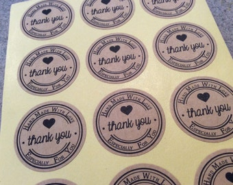 "24pc 1"" round stickers ""Thank You, Hand Made With Love, Especially For You Kraft jewelry wedding party script"