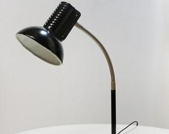 Vintage Polish Polam Wilkasy Gooseneck Desk Lamp designed by Pniewski / Rudkiewicz in Black 1980s Adjustable Reading Studio Industrial Loft