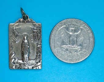 French vintage silver Sacred Heart/Immaculate Heart medal