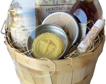 Small Gift Basket from the Hive ~ Raw Honey ~Handmade Soap ~ Lip Balm ~ Lotion Bar ---The Perfect Gift!