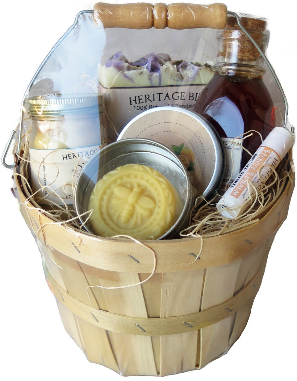 Handmade Soap Baskets : Small gift basket from the hive raw honey handmade soap