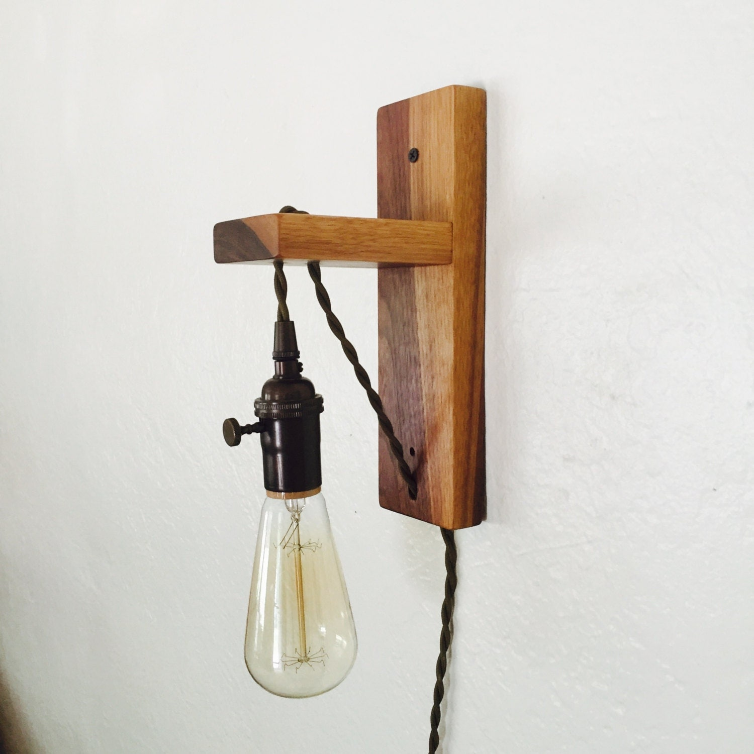 walnut plug in wall sconce plug in pendant edison. Black Bedroom Furniture Sets. Home Design Ideas