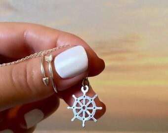 Dharma Wheel Necklace - Buddhist Jewelry - Dharma Wheel Pendant - Wheel of Dharma - Dharmachakra Jewelry