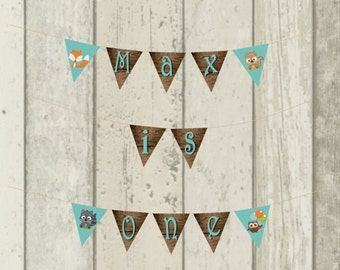 PDF Digital File -- Woodland Birthday Party Banner and Tent Labels