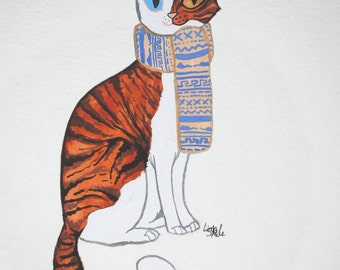 Ginger & White Cat with Scarf - Original Painting 2015