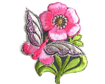 Applique, butterfly, flower patch, 1930s vintage embroidered applique. Vintage floral patch, sewing supply. #643GFAK1F
