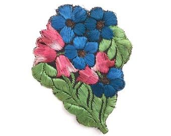 1930s Flower applique, Vintage embroidered applique. Vintage floral patch, sewing supply. #642GC1K6
