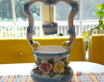 Vintage Iridescent Flowered Wishing Well Planter