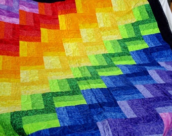 Rainbow quilt, full/queen size quilt, handmade quilt, bed comforter, quilted throw, comforter, multi colors, large quilt, machine quilted