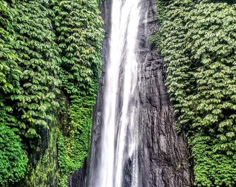Landscape Photography, Waterfall, Bali Indonesia, Green Nature Photography, Wall Art, Home Decor, Gorgeous colors