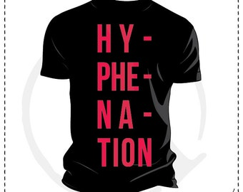 Graphic t-shirt HYPHENATION, digital print on cotton, customizable colors