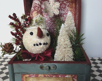 Snowman Vignette, Christmas Decoration, Winter Scene