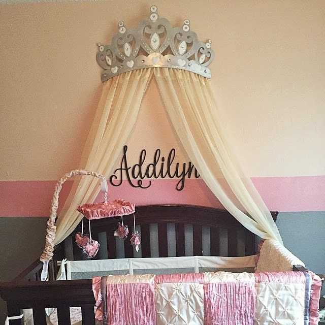 Crown Decoration For Wall : Bed canopy crown wall decor in silver with white by