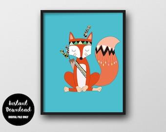 Tribal Fox Nursery Print, INSTANT DOWNLOAD, Woodland Nursery Wall Decor, Animal Printable, Fox Poster Children's Room Wall Art